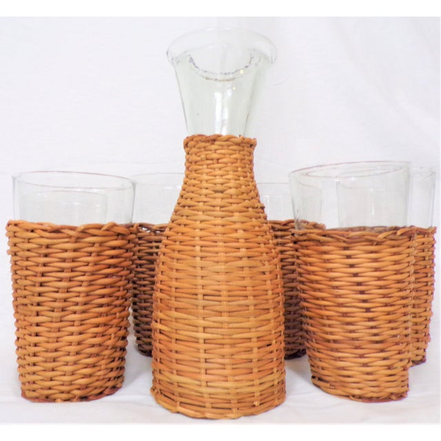 Vintage Rattan Wine Carafe and Glasses - Set of 7 For Sale In Houston - Image 6 of 11