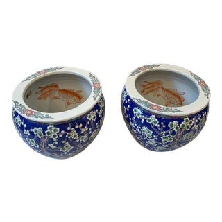 Vintage Chinoiserie Mid Century Floral Export Fishbowl Planters - a Pair For Sale