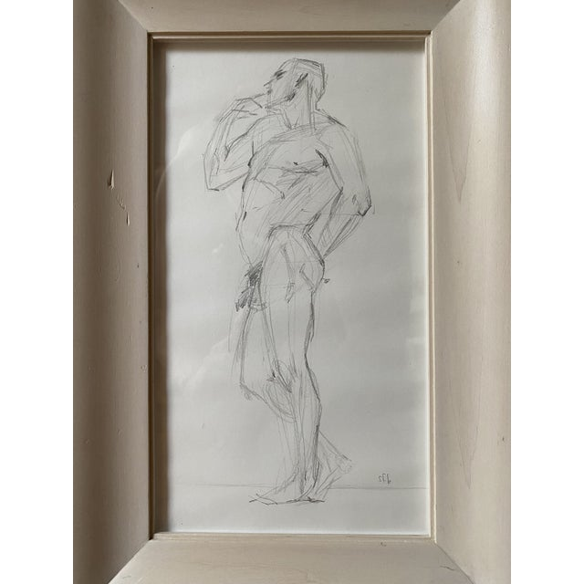 Figurative Vintage Nude Figure, Graphite on Paper, Signed Sfb For Sale - Image 3 of 7