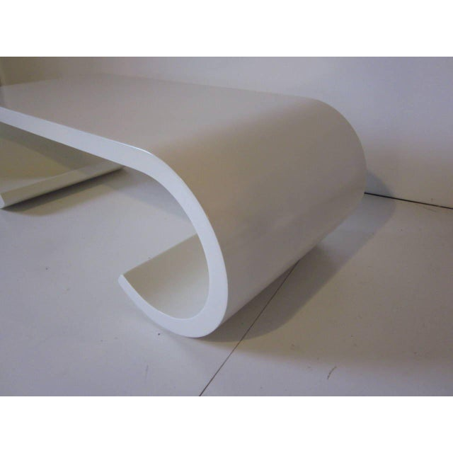 Contemporary Karl Springer Styled Scroll Coffee Table For Sale - Image 3 of 7