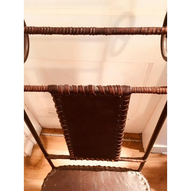Antique Wrought Iron and Leather Handmade Spanish Dining Chairs - Set of 4 For Sale - Image 4 of 5