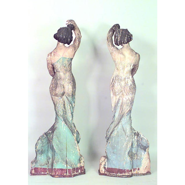 Pair of Art Nouveau Life Size Carved Wood Figures of Dancing Women For Sale - Image 4 of 9
