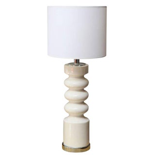 Sculptural Midcentury White Ceramic Table Lamp For Sale