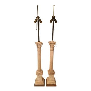 Marble Column Lamps on Gold Leaf Base - A Pair For Sale