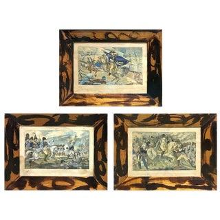 Three Antique Napoleon War Scene Hand-Colored Prints For Sale