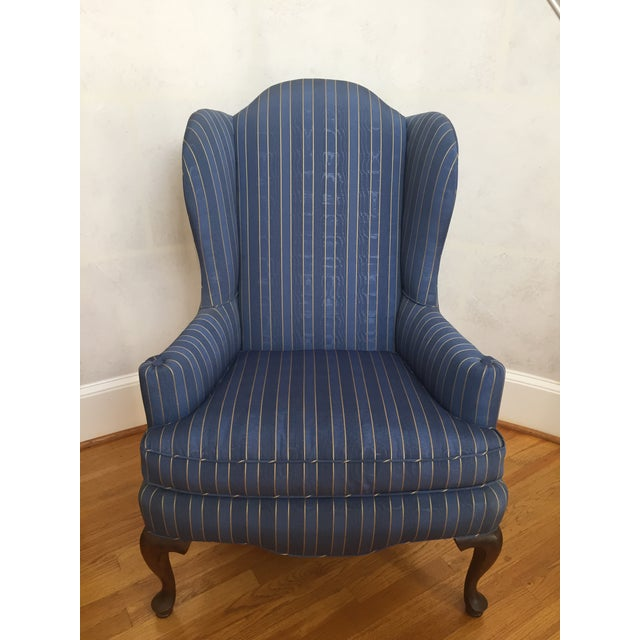 Blue 20th Century Queen Anne Blue With Gold Pin Stripe Damask Wingback Chair For Sale - Image 8 of 8