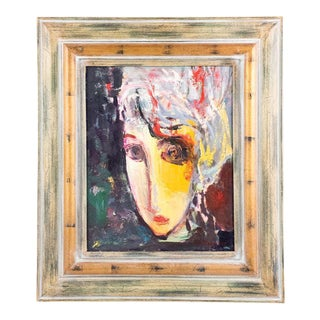 2000s Abstract Expressionist Portrait Oil Painting by Murat Kaboulov, Framed For Sale