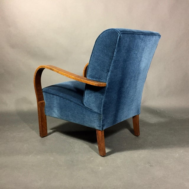 1930s Late 1930s Danish Oak Armchair, New Mohair Upholstery For Sale - Image 5 of 10