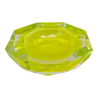 Murano Neon Yellow Glass Bowl For Sale