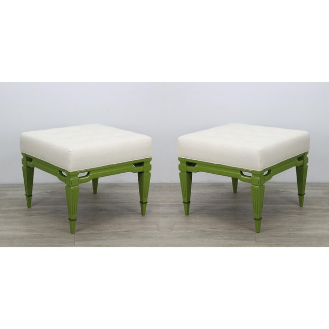 Mid-Century Cream Linen Benches, a Pair For Sale - Image 13 of 13