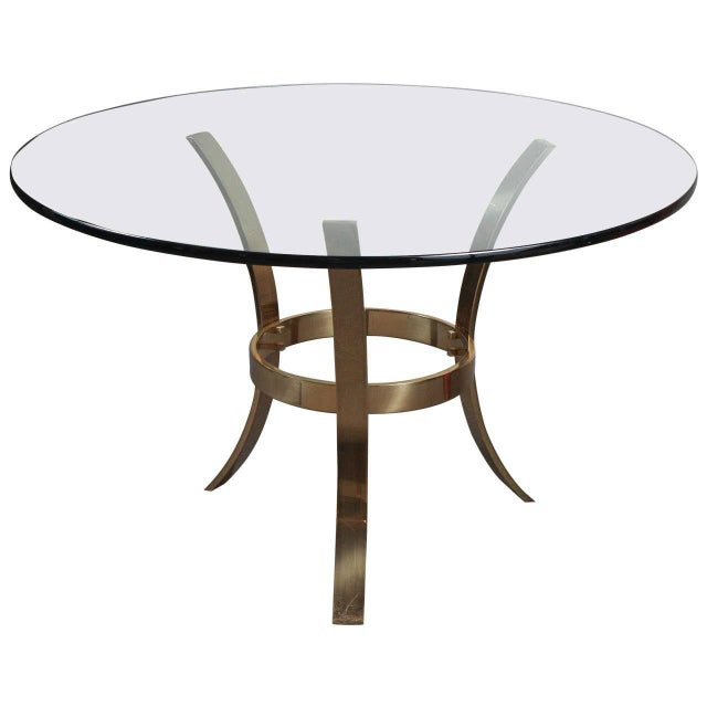 1970s Modern Brass and Glass Tripod Entry Table For Sale - Image 9 of 9