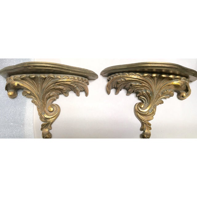 Gilt Wood Carved Italian Brackets - A Pair - Image 5 of 5