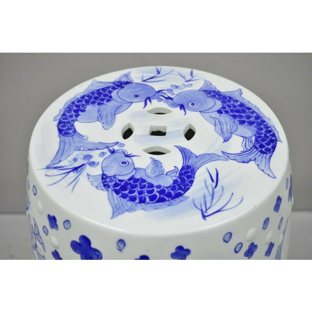 Asian Blue & White Koi Fish Porcelain Chinese Garden Stool For Sale - Image 3 of 12