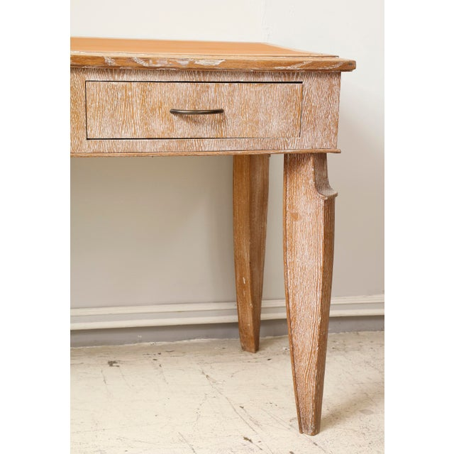 French 1940s Cerused-Oak Leather-Top Console/ Writing Desk With Three Pull-Out Drawers