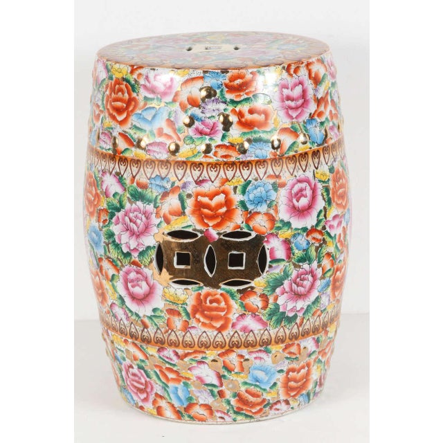 Gold Chinese Pink Ceramic Garden Seat With Lucky Coins For Sale - Image 8 of 8