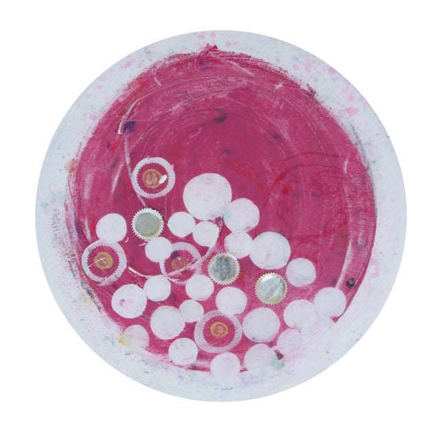 2010s Final Mark-Down Contemporary Pink and Gold Circular Painting by Natasha Mistry For Sale - Image 5 of 6