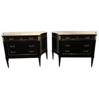 Pair of Large Ebony Maison Jansen Hollywood Regency Style Marble-Top Commodes For Sale