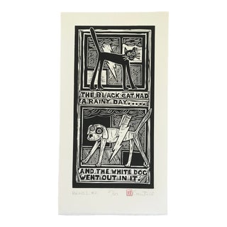 "Original ""Parable #2"" Black Cat, White Dog Hand Pulled Linocut Print For Sale"
