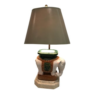 Vintage Ceramic Elephant Garden Stool Lamp