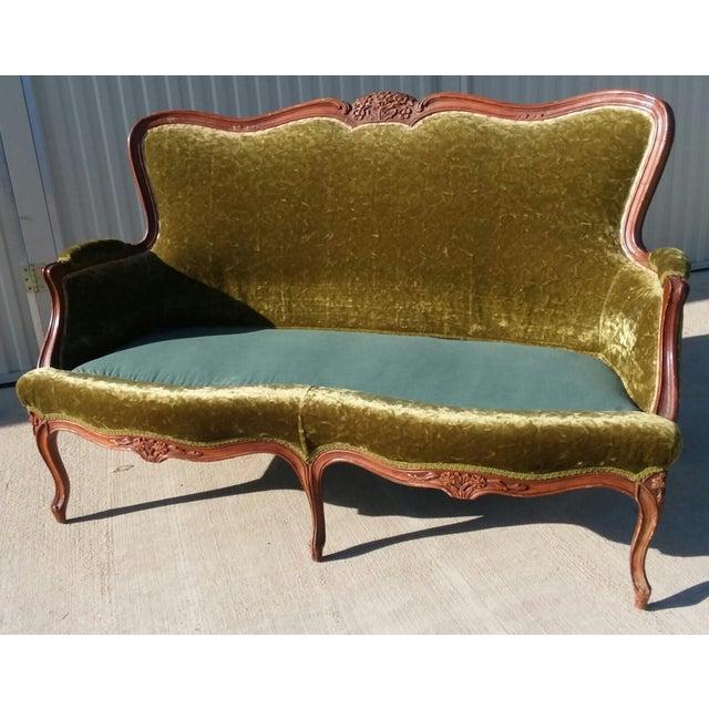 Antique Victorian Velvet Sofa Settee Green For Sale - Image 10 of 13