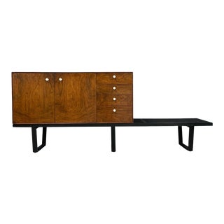 George Nelson Mid-Century Rosewood Thin Edge Cabinet on Original Slat Bench For Sale