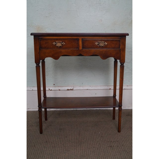 Store Item #: 14576 Yorkshire House Small Burl Wood 2 Drawer Console Table AGE/COUNTRY OF ORIGIN: Approx 20 years, America...
