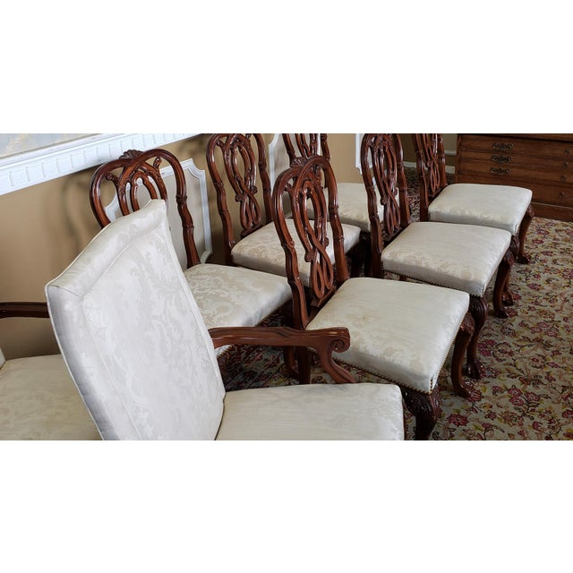High Top Tier Karges Furniture Mahogany Chippendale Dining Room Chairs - Set of 8 For Sale - Image 11 of 12