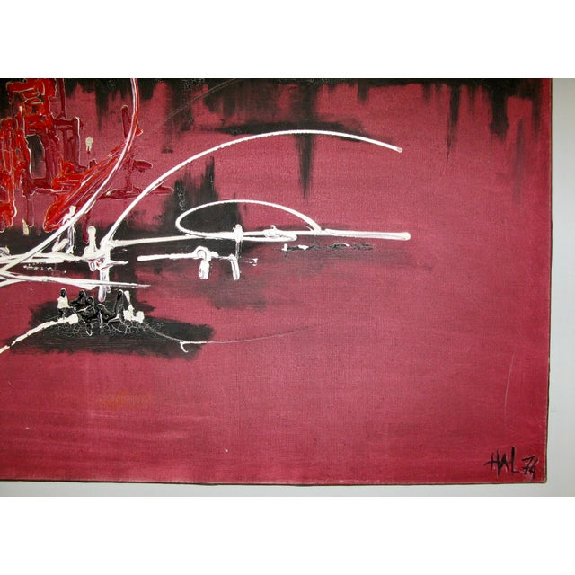 French Abstract Oil on Canvas in the Manner of Georges Mathieu, 1974 For Sale - Image 9 of 9