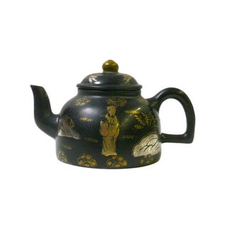 Chinese Black & Golden Teapot with Scenery For Sale