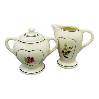 Vintage Porcelier Pink Flower Creamer & Sugar Bowl - A Pair For Sale