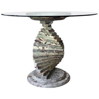 20th Century French Art Deco Pedestal Marble Dining or Coffee Table For Sale