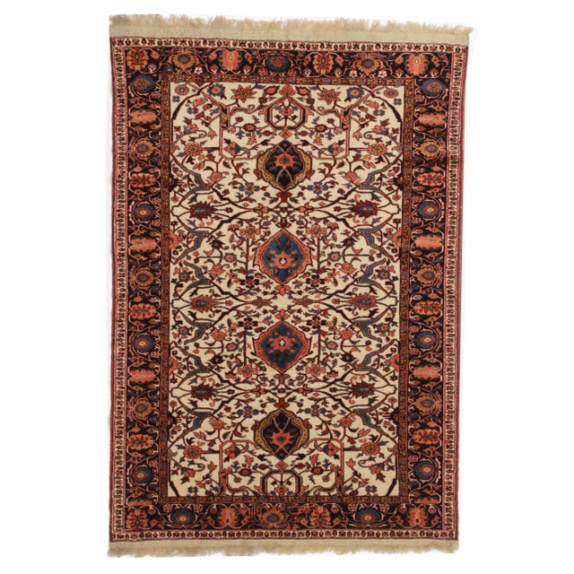 Hand Knotted Wool Persian Joshan Rug - 4′ × 5′9″ - Image 1 of 2