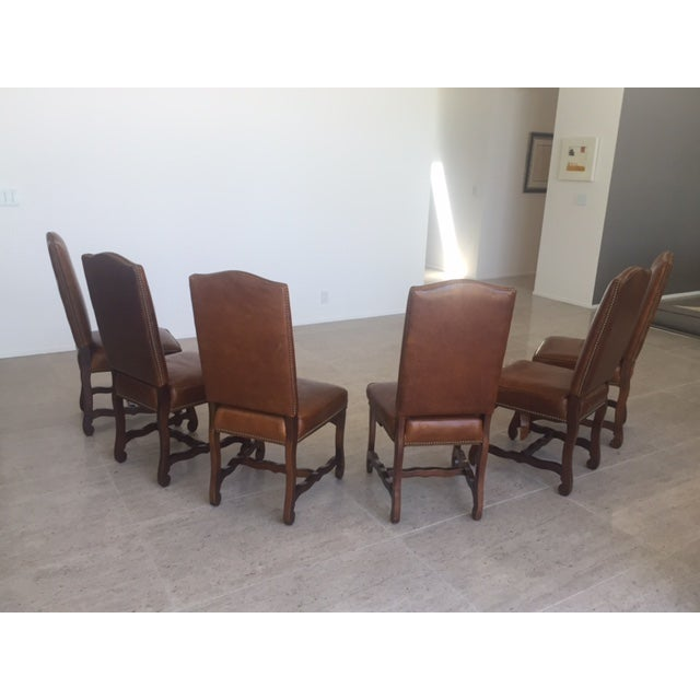 Leather Dining Chairs With Nailheads - Set of 6 - Image 6 of 9