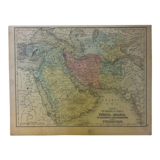 """Antique Mitchell's New School Atlas Map, """"Persia - Arabia and Turkestan"""" by e.h. Butler & Co. Publishers - 1865 For Sale"""