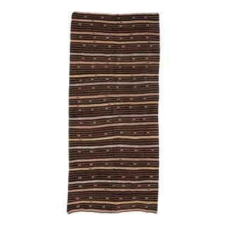 Striped Vintage Brown Kilim Rug For Sale