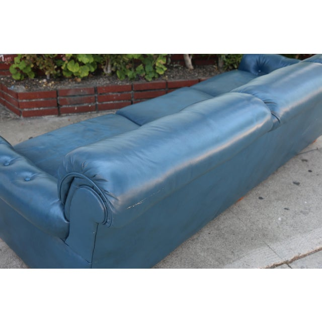 Teal Leather Sofa - Image 11 of 11