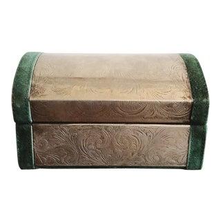 Embossed Tin and Green Velvet Box For Sale