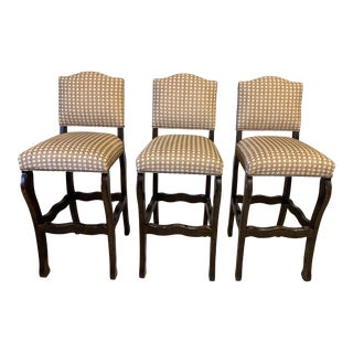 Lorts Solid Wood Bar Stools - Set of 3 For Sale