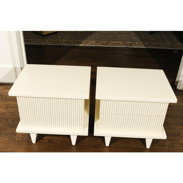 1938 Pair of Restored End Tables by Widdicomb in Cream Lacquer For Sale - Image 12 of 13