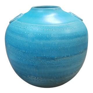 1920 Japanese Awaji Pottery Turquoise Glazed Rotund Vase For Sale