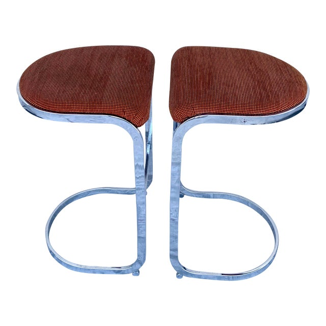 Cantilevered Baughman-Style Bar Stools - a Pair For Sale