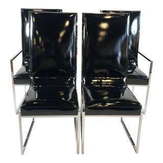 Sleek Patent Vinyl Milo Baughman Dining Chairs- Set of 4 For Sale