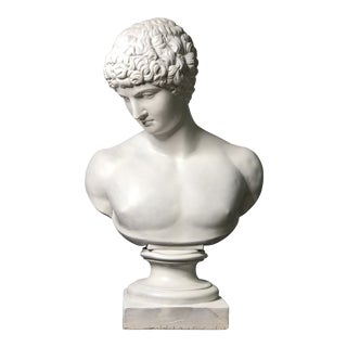 1940s Vintage Neoclassical Style Plaster Bust of Apollo Sculpture For Sale