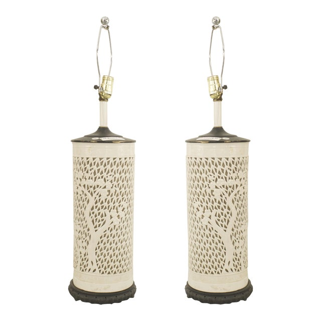 Asian Chinese Style White Porcelain Cylindrical Shape Table Lamps- A Pair For Sale