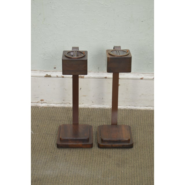 Metal Art Deco Vintage Pair of Mahogany Smoke Stands Possibly Gilbert Rhode For Sale - Image 7 of 13