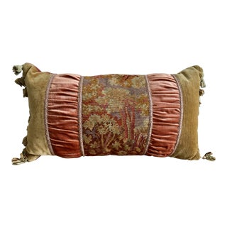 Traditional Velvet Bolster Pillow With Abusson Tapestry Panel and Wool Tassels For Sale
