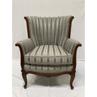 1930s Vintage Grey Stripe Studded Wing Barrel Chair Preview