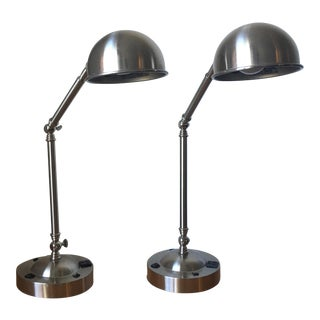 1970s 3 Joint Metal Finish Desk Lamp - a Pair For Sale
