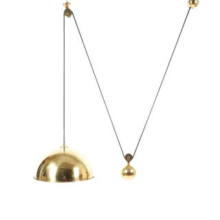 Adjustable Refurbished Brass Counterweight Pendant Lamp by Florian Schulz For Sale