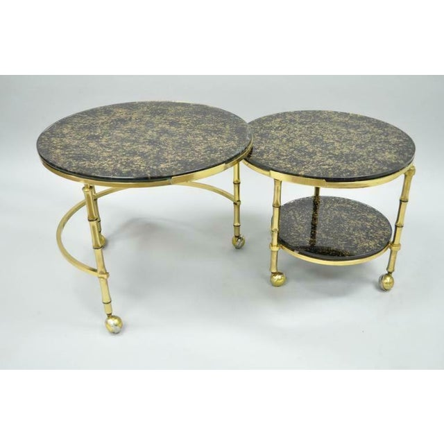 Hollywood Regency 1970s Hollywood Regency Brass and Glass Faux Bamboo Round Nesting Expanding Cocktail Coffee Side Table For Sale - Image 3 of 11